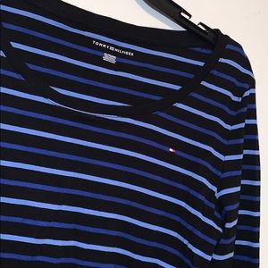 Blue Tommy striped long sleeve shirt
